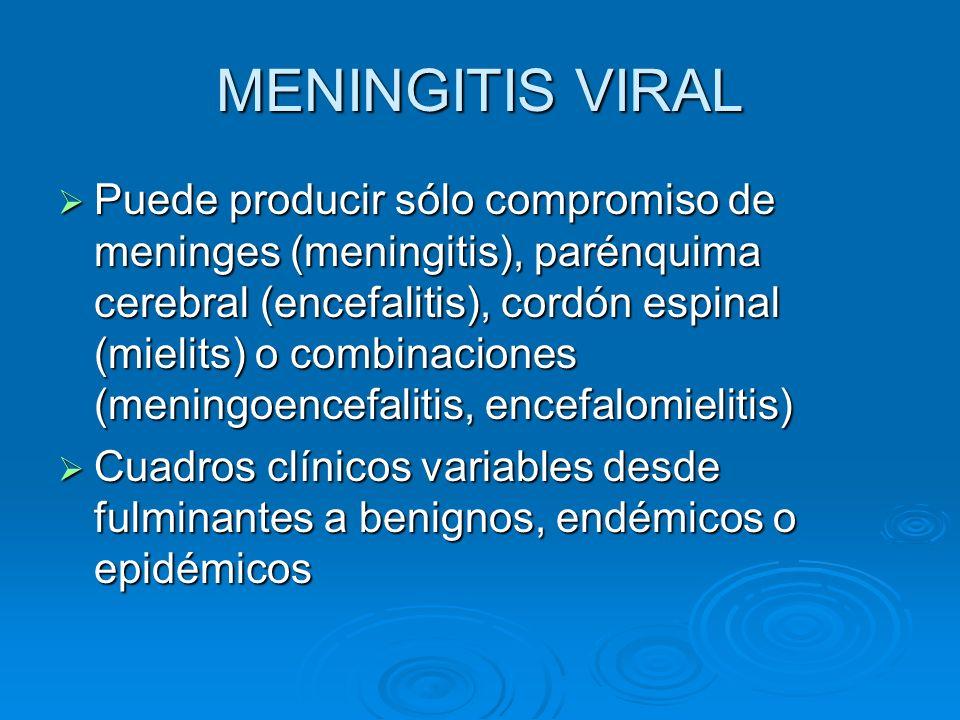 MENINGITIS VIRAL Puede producir sólo compromiso de meninges (meningitis), parénquima cerebral (encefalitis), cordón espinal (mielits) o combinaciones