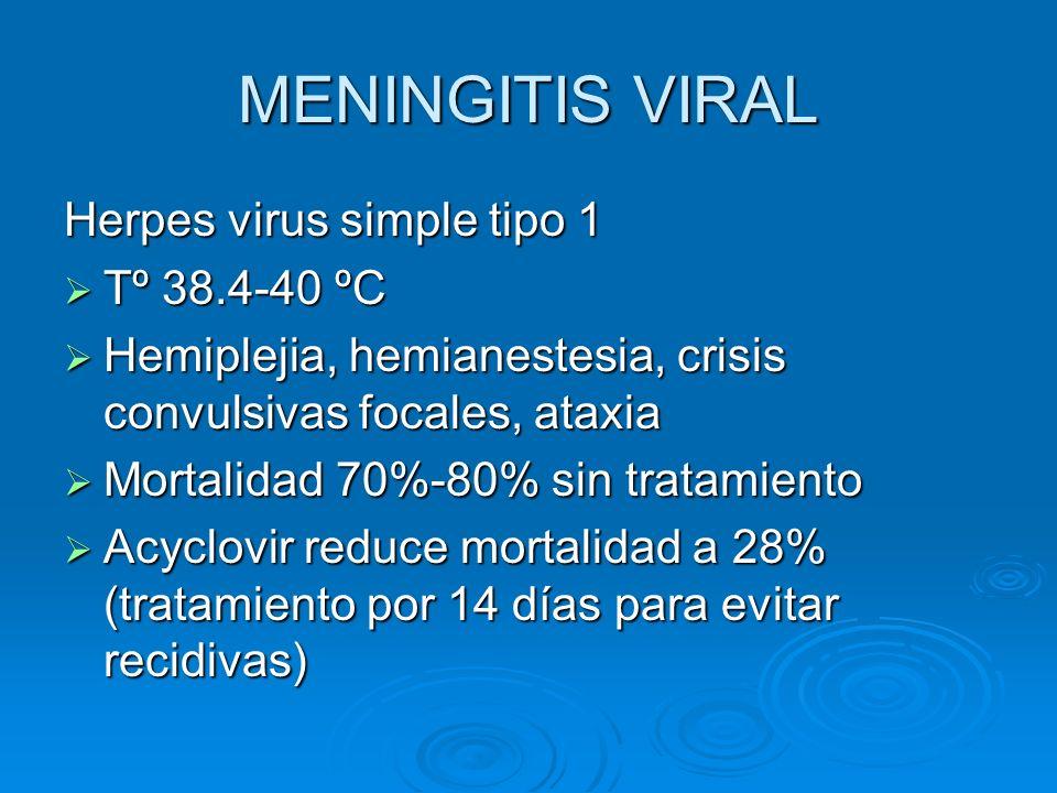 MENINGITIS VIRAL Herpes virus simple tipo 1 Tº 38.4-40 ºC Tº 38.4-40 ºC Hemiplejia, hemianestesia, crisis convulsivas focales, ataxia Hemiplejia, hemi