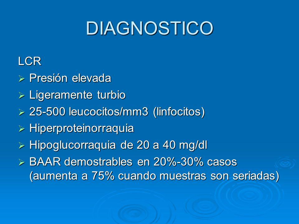 DIAGNOSTICO LCR Presión elevada Presión elevada Ligeramente turbio Ligeramente turbio 25-500 leucocitos/mm3 (linfocitos) 25-500 leucocitos/mm3 (linfoc