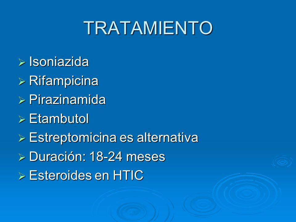 TRATAMIENTO Isoniazida Isoniazida Rifampicina Rifampicina Pirazinamida Pirazinamida Etambutol Etambutol Estreptomicina es alternativa Estreptomicina e