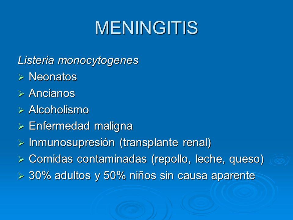 MENINGITIS Listeria monocytogenes Neonatos Neonatos Ancianos Ancianos Alcoholismo Alcoholismo Enfermedad maligna Enfermedad maligna Inmunosupresión (t