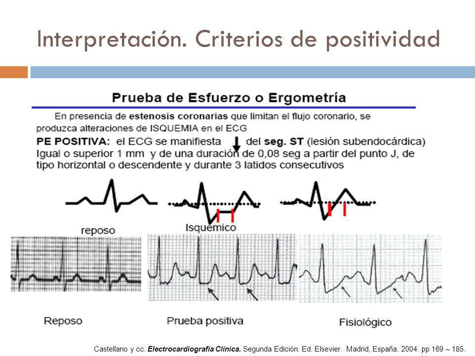 Interpretación. Criterios de positividad Castellano y cc. Electrocardiografía Clínica. Segunda Edición. Ed. Elsevier. Madrid, España. 2004. pp 169 – 1