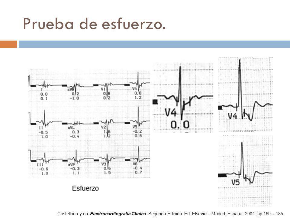 Prueba de esfuerzo. Castellano y cc. Electrocardiografía Clínica. Segunda Edición. Ed. Elsevier. Madrid, España. 2004. pp 169 – 185.