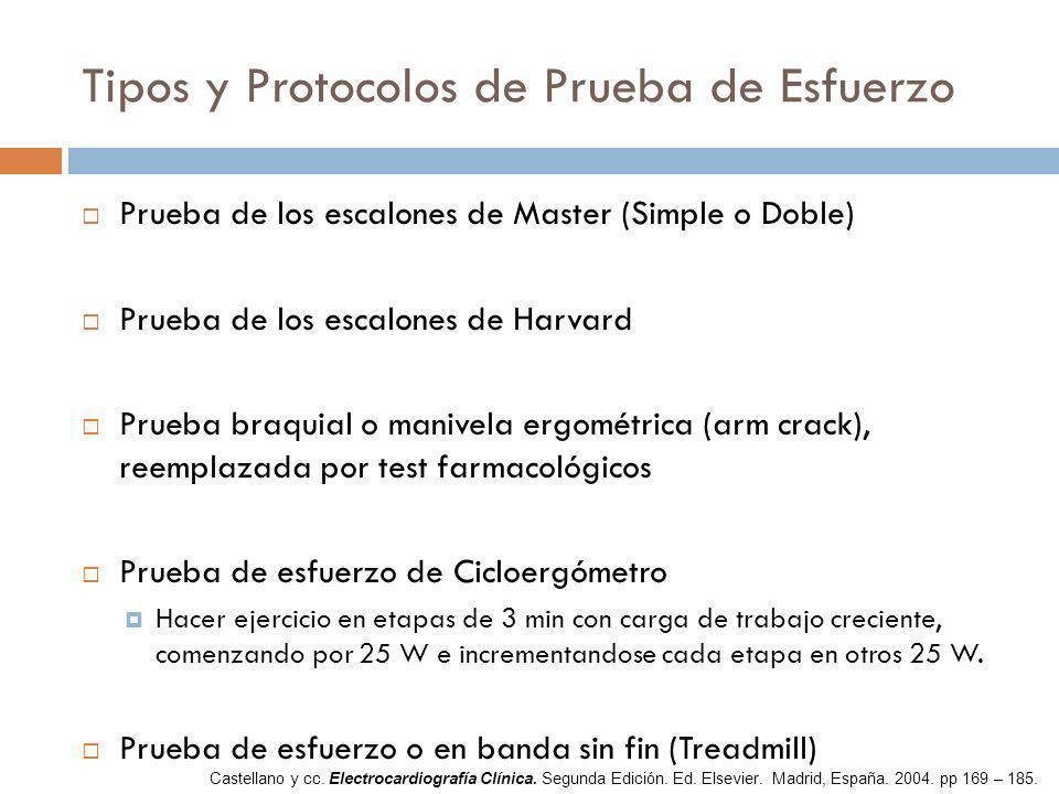 Tipos y Protocolos de Prueba de Esfuerzo Prueba de los escalones de Master (Simple o Doble) Prueba de los escalones de Harvard Prueba braquial o maniv