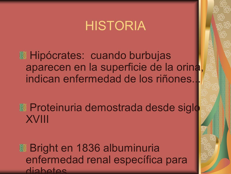 HISTORIA Hipócrates: cuando burbujas aparecen en la superficie de la orina, indican enfermedad de los riñones... Proteinuria demostrada desde siglo XV