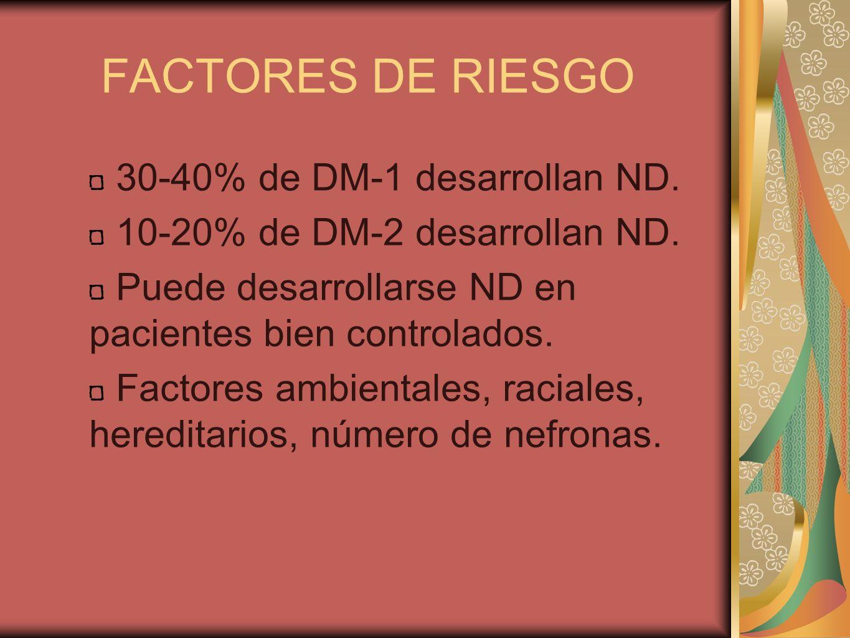 FACTORES DE RIESGO 30-40% de DM-1 desarrollan ND. 10-20% de DM-2 desarrollan ND. Puede desarrollarse ND en pacientes bien controlados. Factores ambien