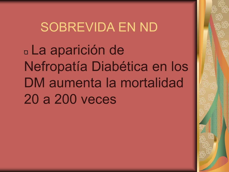 SOBREVIDA EN ND La aparición de Nefropatía Diabética en los DM aumenta la mortalidad 20 a 200 veces