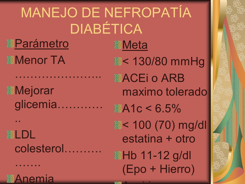 MANEJO DE NEFROPATÍA DIABÉTICA Parámetro Menor TA ………………….. Mejorar glicemia………….. LDL colesterol………. ……. Anemia protección Endotelio Fumado………… ……… M