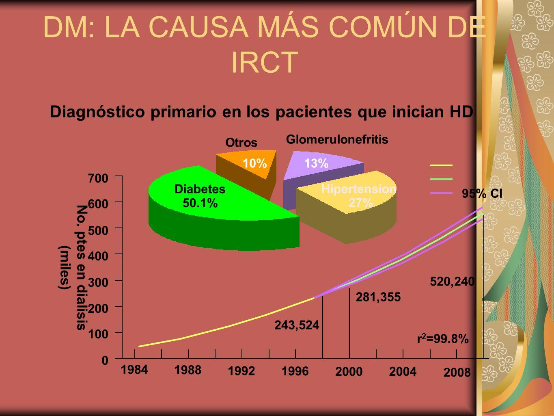 DM: LA CAUSA MÁS COMÚN DE IRCT Diagnóstico primario en los pacientes que inician HD Diabetes 50.1% Hipertension 27% Glomerulonefritis 13% Otros 10% 95