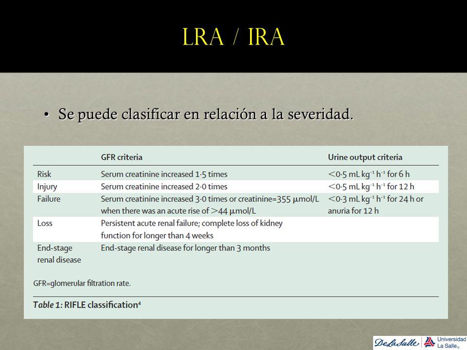 LRA / IRA Se puede clasificar en relación a la severidad.Se puede clasificar en relación a la severidad.