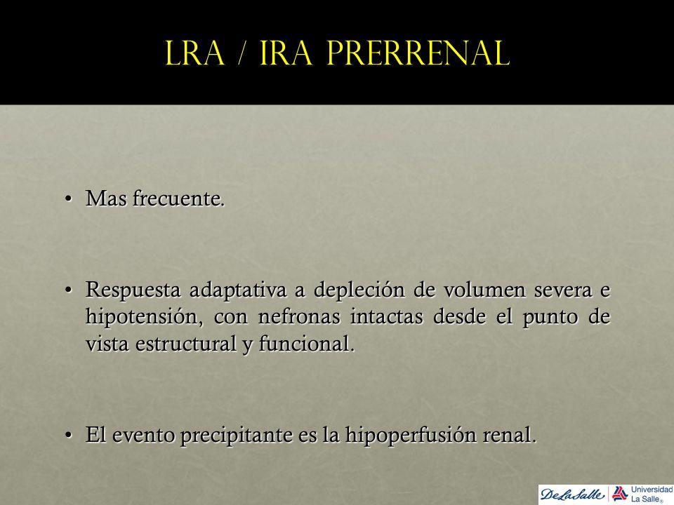 LRA / IRA prerrenal Mas frecuente.Mas frecuente. Respuesta adaptativa a depleción de volumen severa e hipotensión, con nefronas intactas desde el punt