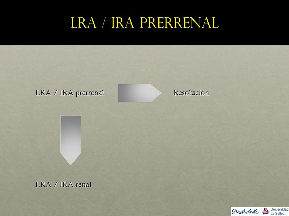 LRA / IRA prerrenal LRA / IRA prerrenal Resolución LRA / IRA prerrenal Resolución LRA / IRA renal LRA / IRA renal