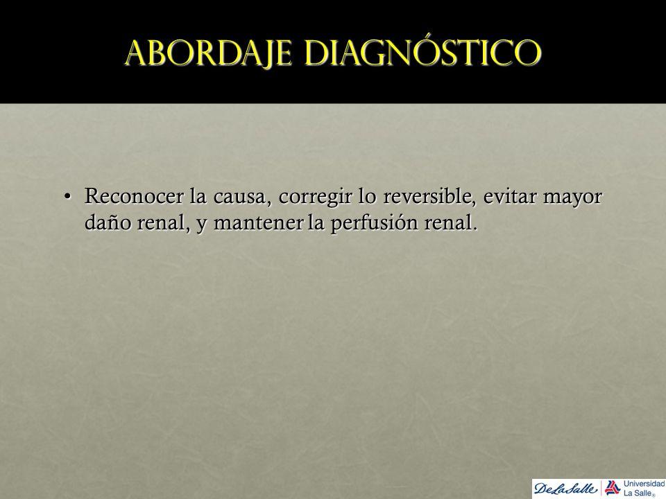 Abordaje diagnóstico Reconocer la causa, corregir lo reversible, evitar mayor daño renal, y mantener la perfusión renal.Reconocer la causa, corregir l