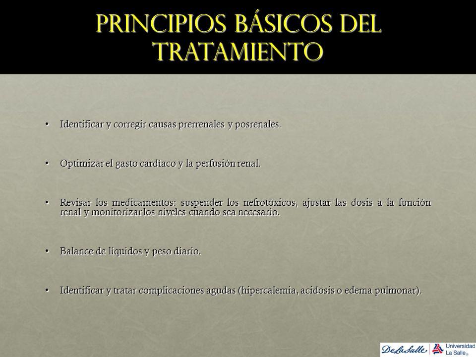 Principios básicos del tratamiento Identificar y corregir causas prerrenales y posrenales.Identificar y corregir causas prerrenales y posrenales. Opti