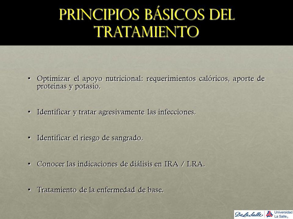Principios básicos del tratamiento Optimizar el apoyo nutricional: requerimientos calóricos, aporte de proteínas y potasio.Optimizar el apoyo nutricio
