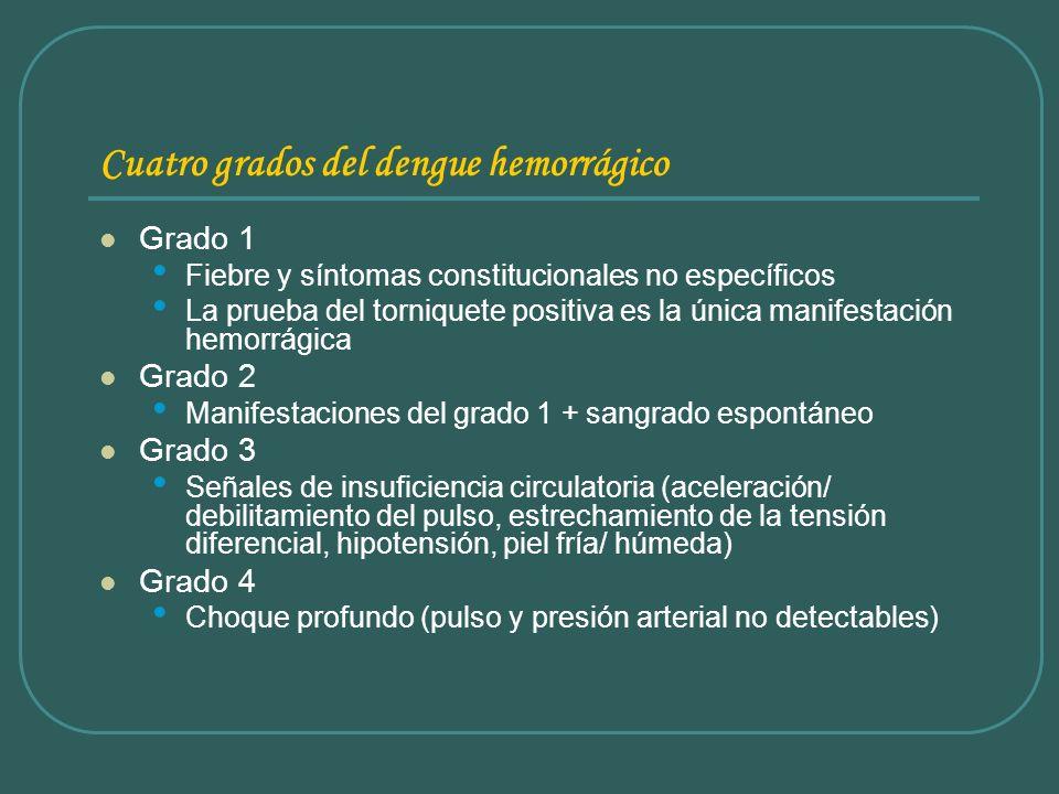 Cuatro grados del dengue hemorrágico Grado 1 Fiebre y síntomas constitucionales no específicos La prueba del torniquete positiva es la única manifesta
