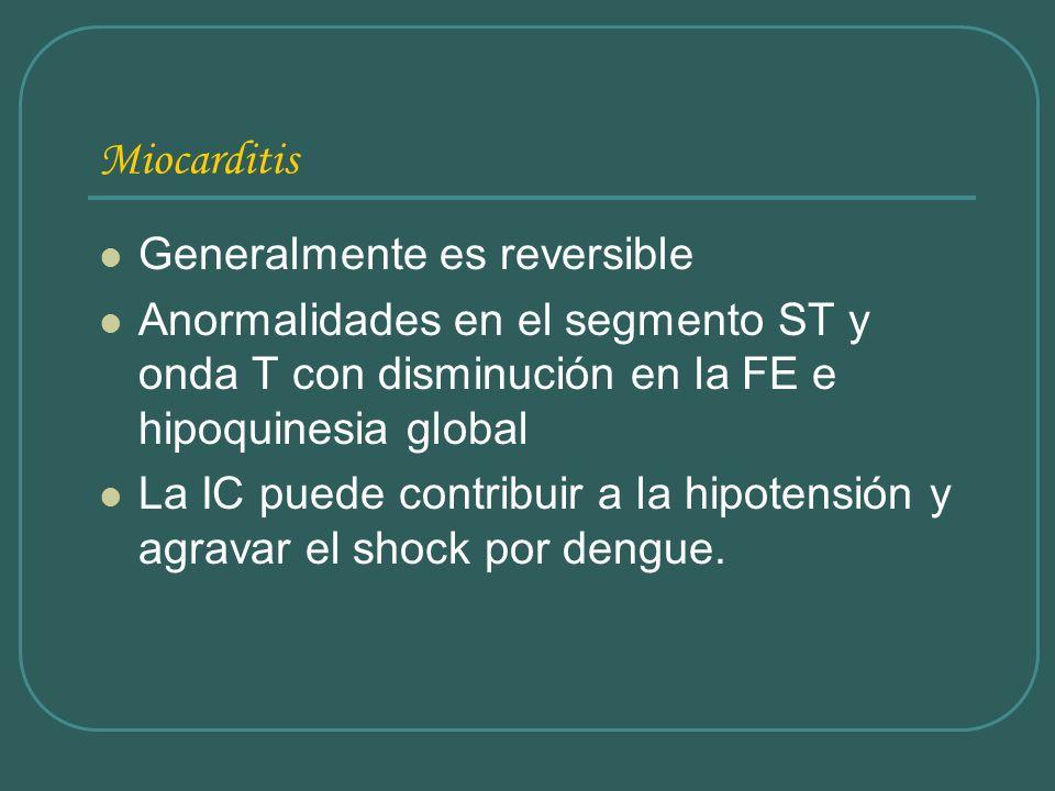 Miocarditis Generalmente es reversible Anormalidades en el segmento ST y onda T con disminución en la FE e hipoquinesia global La IC puede contribuir
