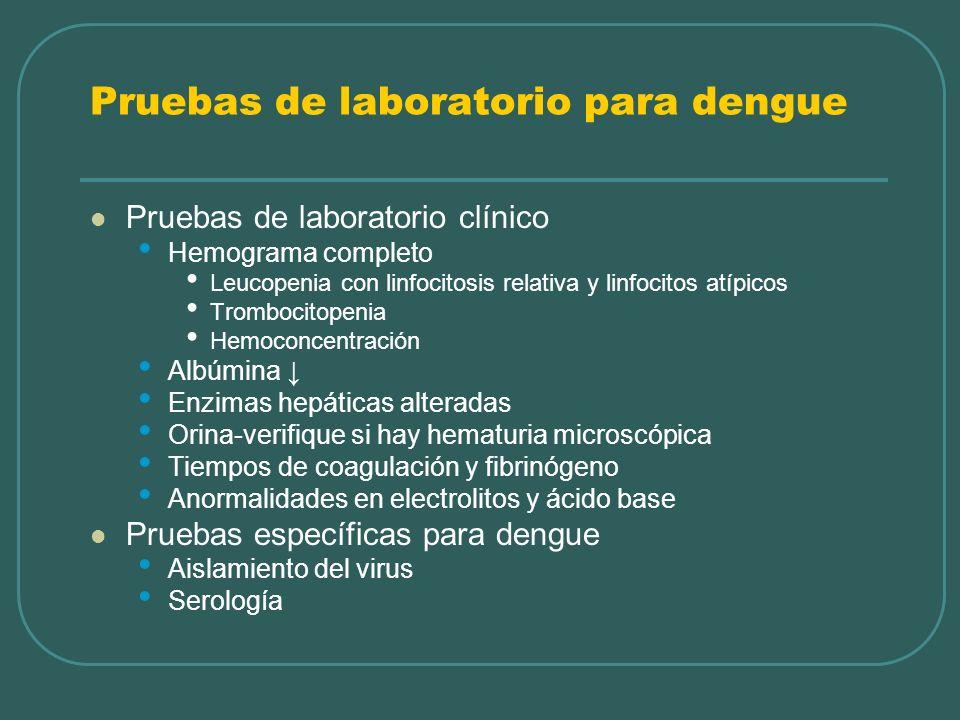 Pruebas de laboratorio para dengue Pruebas de laboratorio clínico Hemograma completo Leucopenia con linfocitosis relativa y linfocitos atípicos Trombo