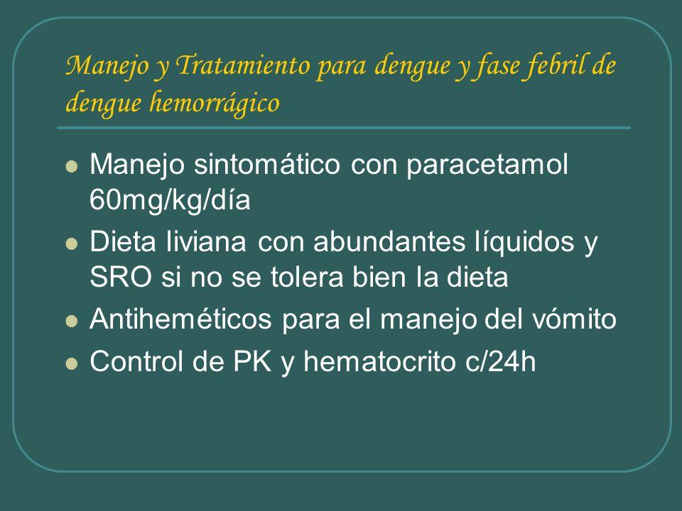 Manejo y Tratamiento para dengue y fase febril de dengue hemorrágico Manejo sintomático con paracetamol 60mg/kg/día Dieta liviana con abundantes líqui