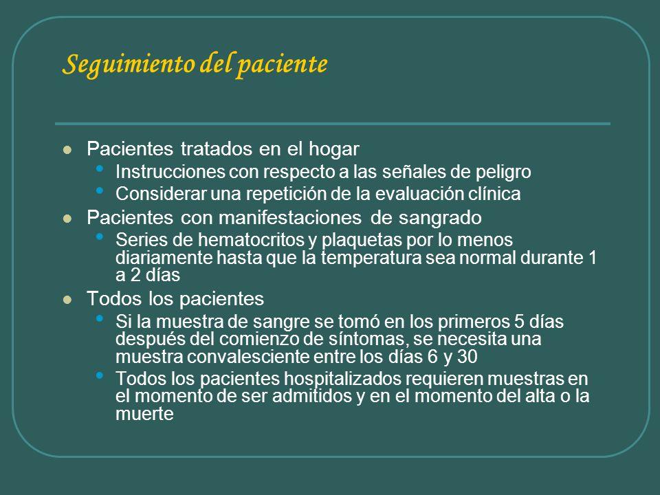 Seguimiento del paciente Pacientes tratados en el hogar Instrucciones con respecto a las señales de peligro Considerar una repetición de la evaluación