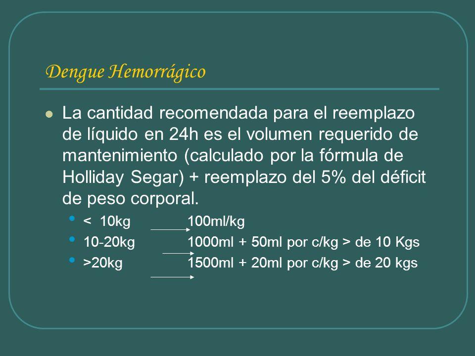 Dengue Hemorrágico La cantidad recomendada para el reemplazo de líquido en 24h es el volumen requerido de mantenimiento (calculado por la fórmula de H