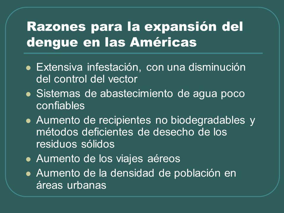 Razones para la expansión del dengue en las Américas Extensiva infestación, con una disminución del control del vector Sistemas de abastecimiento de a