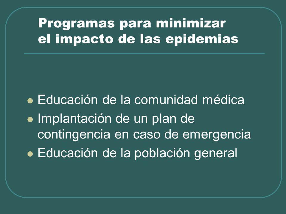 Programas para minimizar el impacto de las epidemias Educación de la comunidad médica Implantación de un plan de contingencia en caso de emergencia Ed