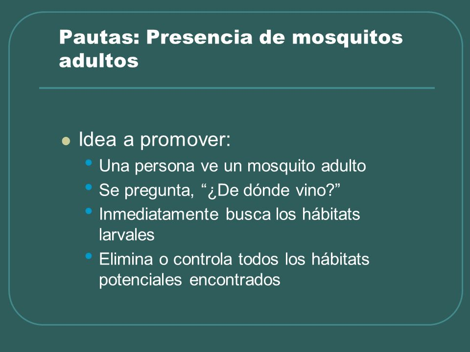 Pautas: Presencia de mosquitos adultos Idea a promover: Una persona ve un mosquito adulto Se pregunta, ¿De dónde vino? Inmediatamente busca los hábita