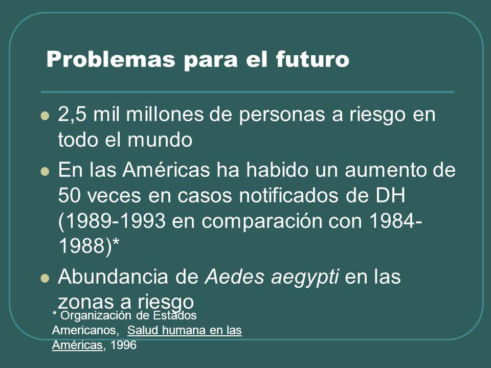 Problemas para el futuro 2,5 mil millones de personas a riesgo en todo el mundo En las Américas ha habido un aumento de 50 veces en casos notificados