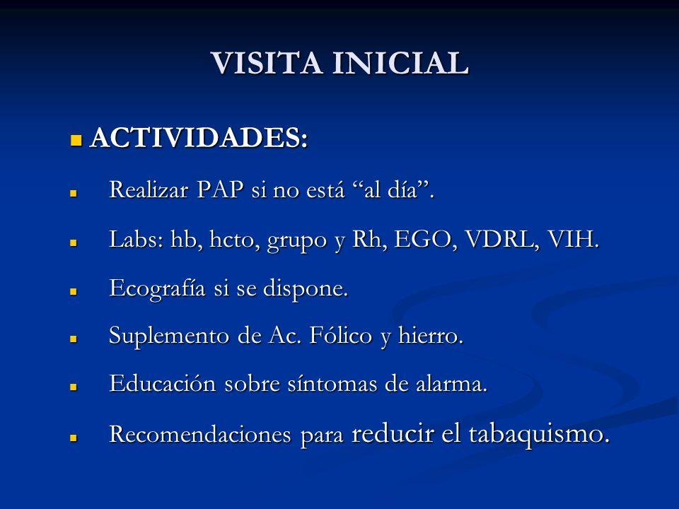 VISITA INICIAL ACTIVIDADES: ACTIVIDADES: Realizar PAP si no está al día. Realizar PAP si no está al día. Labs: hb, hcto, grupo y Rh, EGO, VDRL, VIH. L