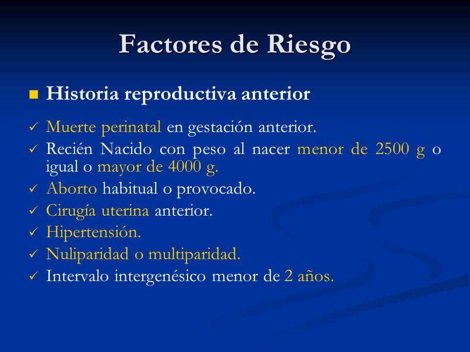 Factores de Riesgo Historia reproductiva anterior Muerte perinatal en gestación anterior. Recién Nacido con peso al nacer menor de 2500 g o igual o ma