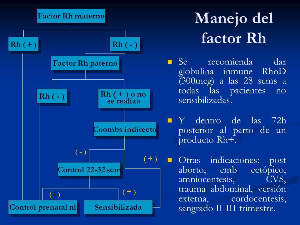Manejo del factor Rh Se recomienda dar globulina inmune RhoD (300mcg) a las 28 sems a todas las pacientes no sensibilizadas. Y dentro de las 72h poste