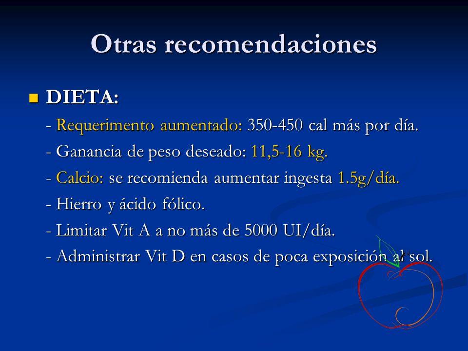 Otras recomendaciones DIETA: DIETA: - Requerimento aumentado: 350-450 cal más por día. - Ganancia de peso deseado: 11,5-16 kg. - Calcio: se recomienda