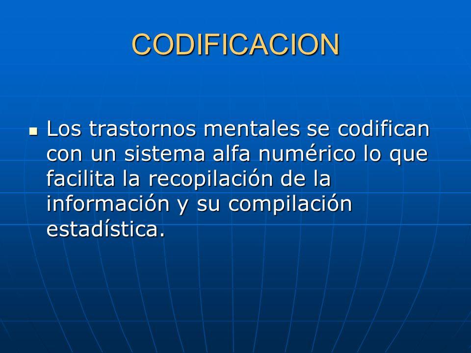 CODIFICACION Los trastornos mentales se codifican con un sistema alfa numérico lo que facilita la recopilación de la información y su compilación esta