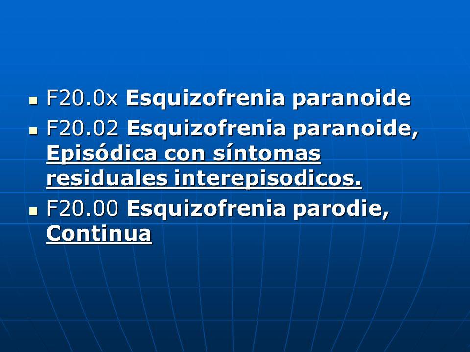 F20.0x Esquizofrenia paranoide F20.0x Esquizofrenia paranoide F20.02 Esquizofrenia paranoide, Episódica con síntomas residuales interepisodicos. F20.0