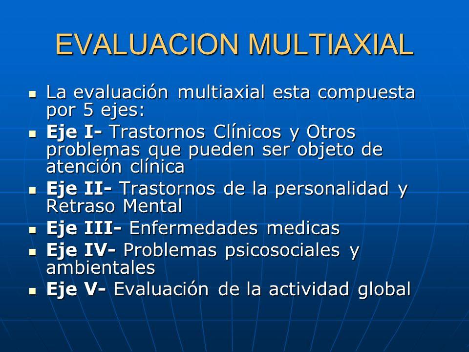 EVALUACION MULTIAXIAL La evaluación multiaxial esta compuesta por 5 ejes: La evaluación multiaxial esta compuesta por 5 ejes: Eje I- Trastornos Clínic