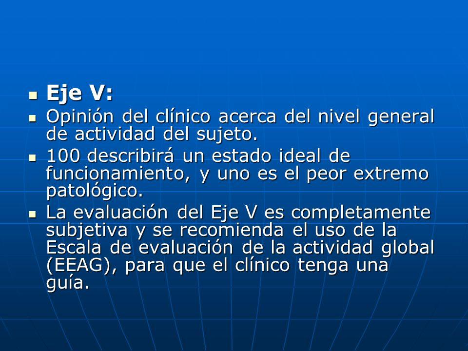 Eje V: Eje V: Opinión del clínico acerca del nivel general de actividad del sujeto. Opinión del clínico acerca del nivel general de actividad del suje