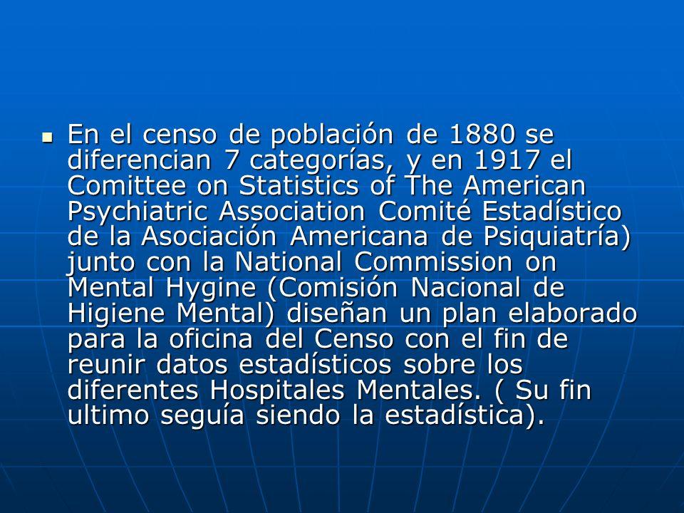 En el censo de población de 1880 se diferencian 7 categorías, y en 1917 el Comittee on Statistics of The American Psychiatric Association Comité Estad