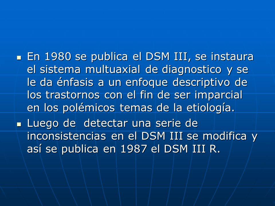 En 1980 se publica el DSM III, se instaura el sistema multuaxial de diagnostico y se le da énfasis a un enfoque descriptivo de los trastornos con el f