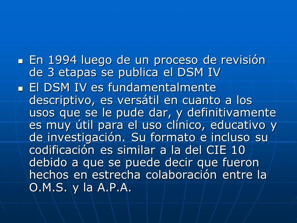 En 1994 luego de un proceso de revisión de 3 etapas se publica el DSM IV En 1994 luego de un proceso de revisión de 3 etapas se publica el DSM IV El D
