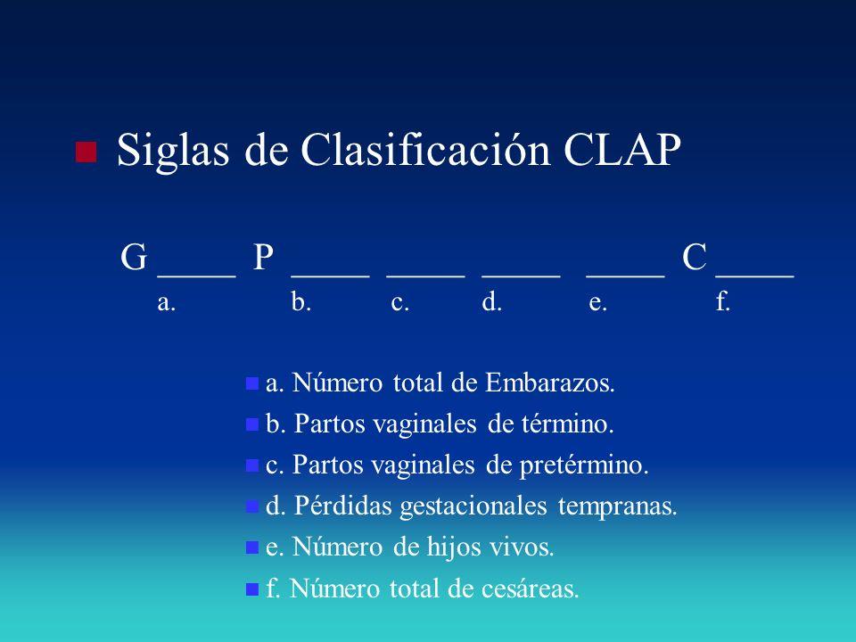 Siglas de Clasificación CLAP G ____ P ____ ____ ____ ____ C ____ a. Número total de Embarazos. b. Partos vaginales de término. c. Partos vaginales de