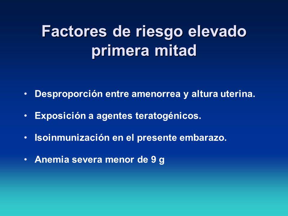 Factores de riesgo elevado primera mitad Desproporción entre amenorrea y altura uterina. Exposición a agentes teratogénicos. Isoinmunización en el pre