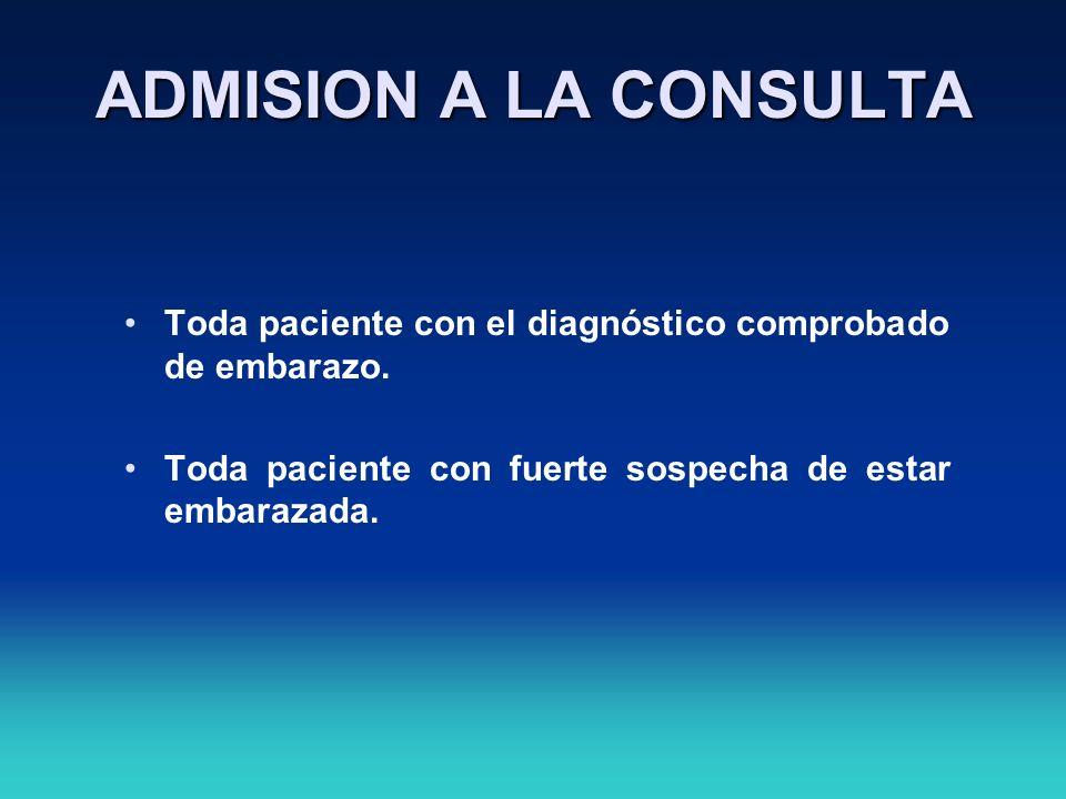 ADMISION A LA CONSULTA Toda paciente con el diagnóstico comprobado de embarazo. Toda paciente con fuerte sospecha de estar embarazada.