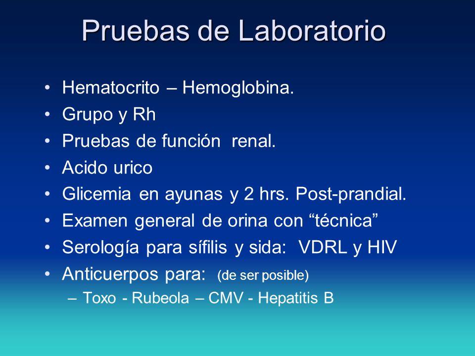 Pruebas de Laboratorio Hematocrito – Hemoglobina. Grupo y Rh Pruebas de función renal. Acido urico Glicemia en ayunas y 2 hrs. Post-prandial. Examen g
