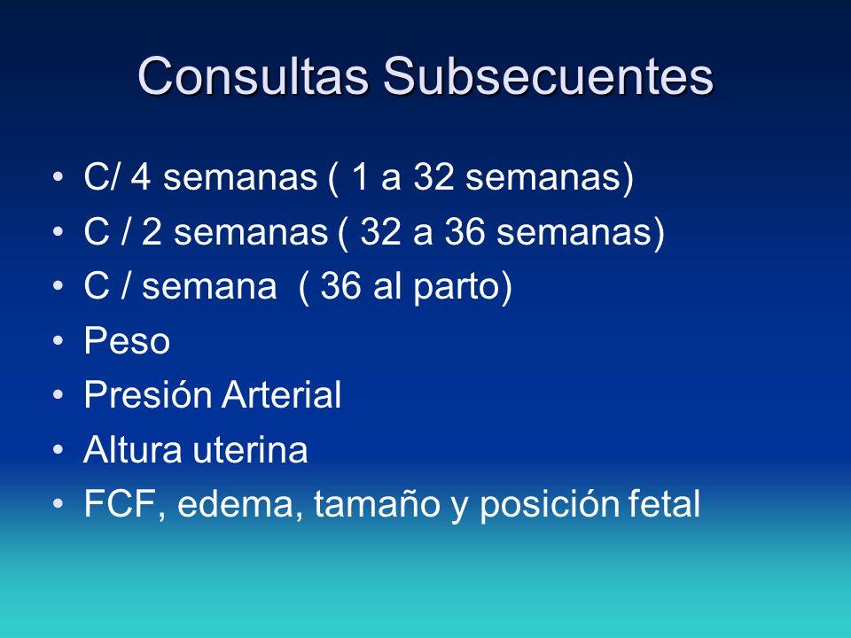 Consultas Subsecuentes C/ 4 semanas ( 1 a 32 semanas) C / 2 semanas ( 32 a 36 semanas) C / semana ( 36 al parto) Peso Presión Arterial Altura uterina