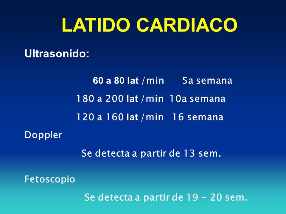 LATIDO CARDIACO Ultrasonido: 60 a 80 lat /min 5a semana 180 a 200 lat /min 10a semana 120 a 160 lat /min 16 semana Doppler Se detecta a partir de 13 s