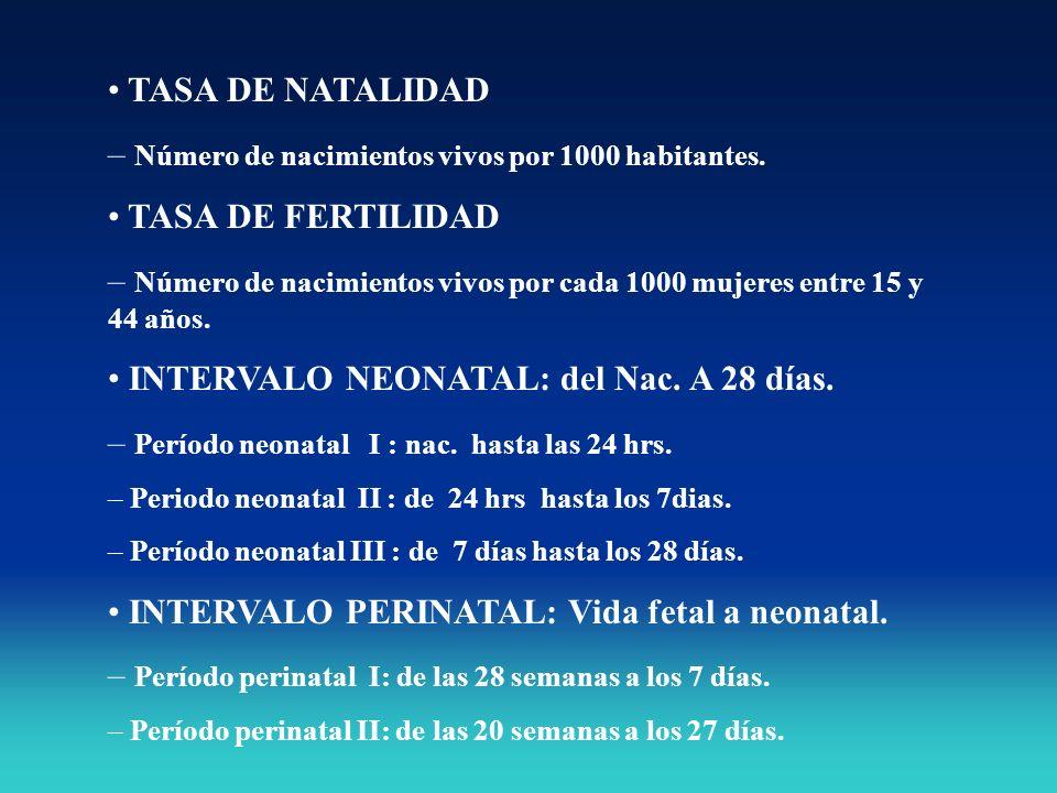 TASA DE NATALIDAD – Número de nacimientos vivos por 1000 habitantes. TASA DE FERTILIDAD – Número de nacimientos vivos por cada 1000 mujeres entre 15 y