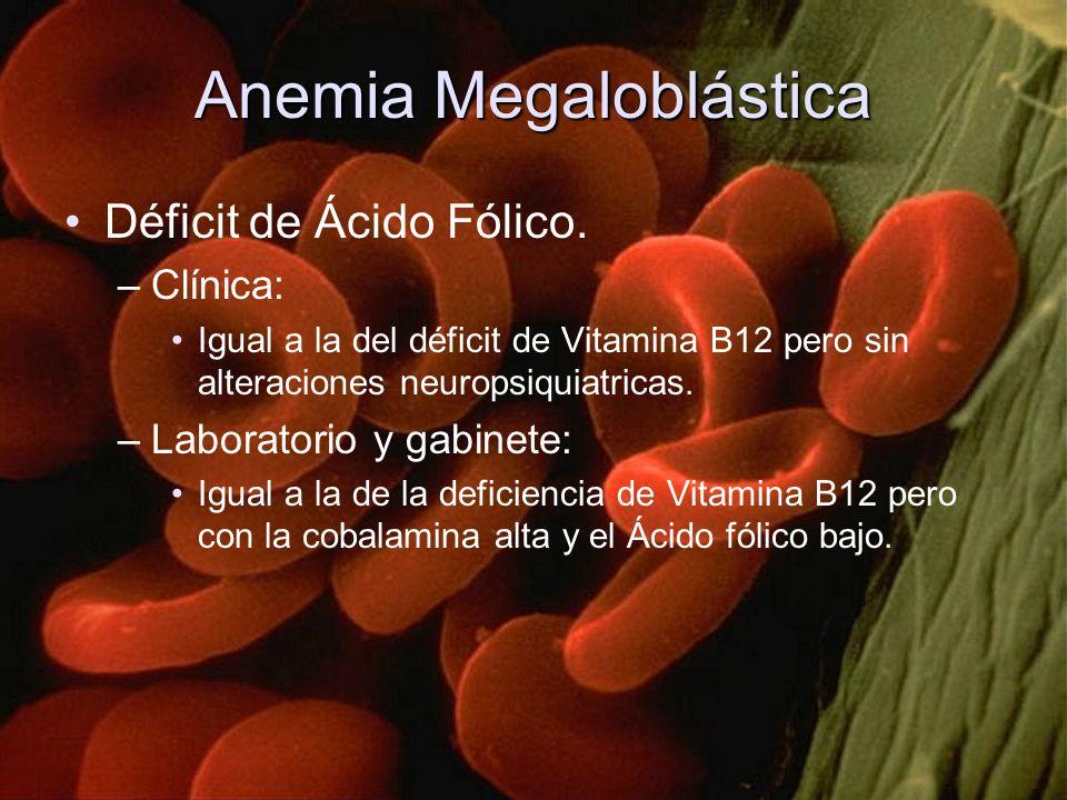 Anemia Megaloblástica Déficit de Ácido Fólico. –Clínica: Igual a la del déficit de Vitamina B12 pero sin alteraciones neuropsiquiatricas. –Laboratorio
