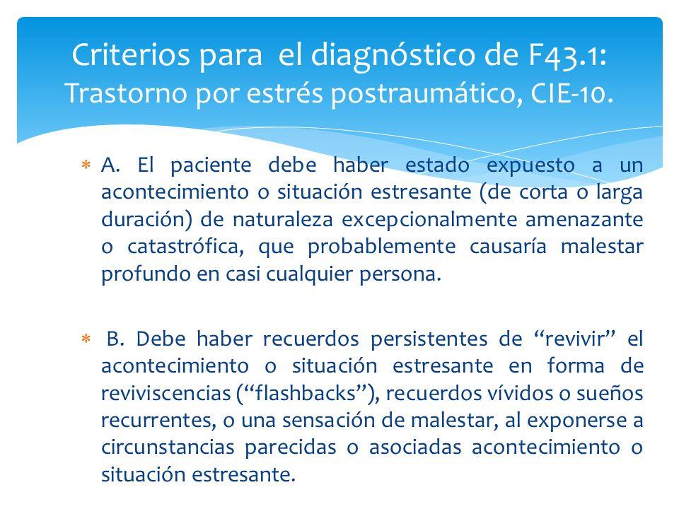 A. El paciente debe haber estado expuesto a un acontecimiento o situación estresante (de corta o larga duración) de naturaleza excepcionalmente amenaz