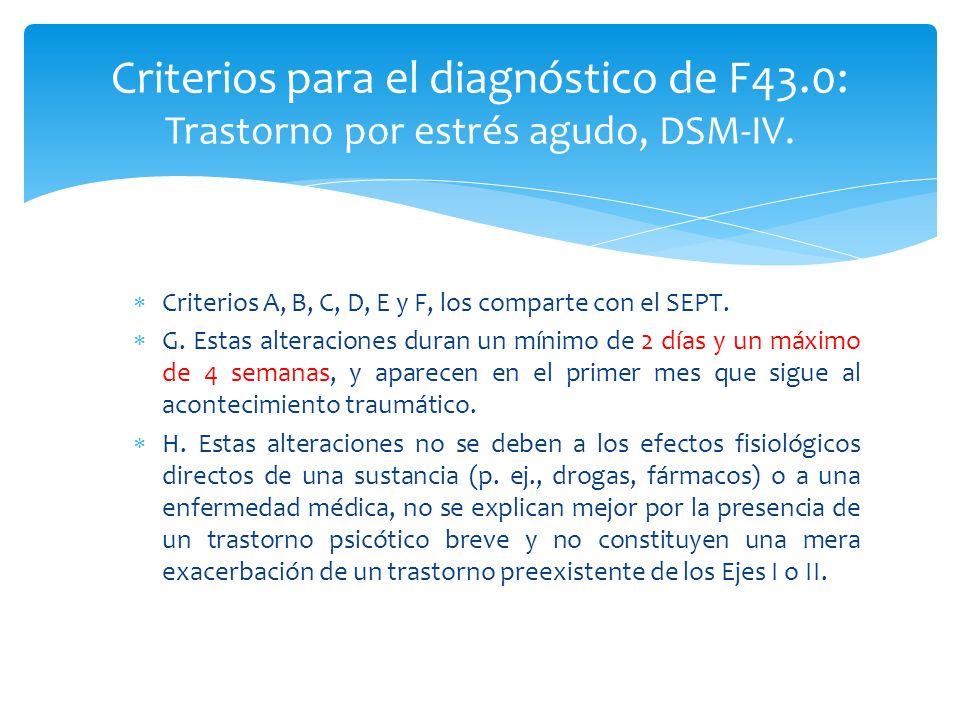 Criterios A, B, C, D, E y F, los comparte con el SEPT. G. Estas alteraciones duran un mínimo de 2 días y un máximo de 4 semanas, y aparecen en el prim